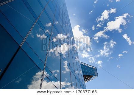 Business office building clouds and blue sky in Barcelona Spain