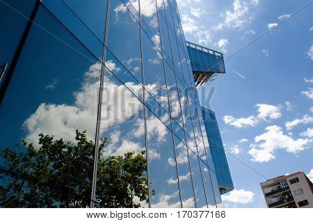 Barcelona Spain Europe - glass office building in business district Diagonal Mar