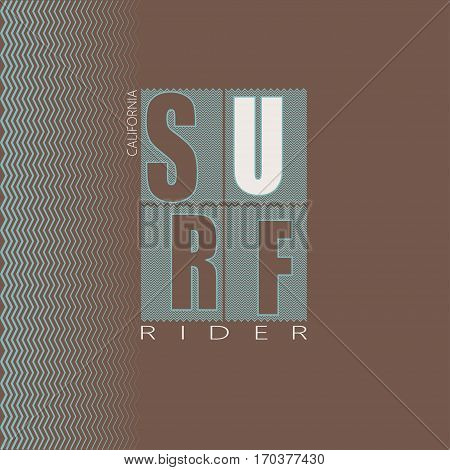 Logo on the theme of surfing and surf rider in California. surfing. Vector illustration. Design for t-shirt graphics poster banner flyer print.