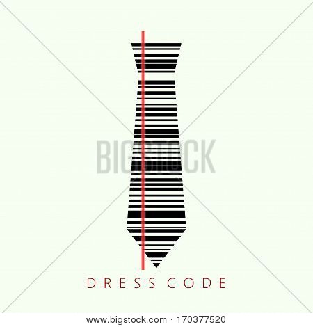 Concept of dress code.Vector illustration of black tie with barcode.
