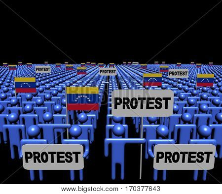 Crowd of people with protest signs and Venezuelan flags 3d illustration