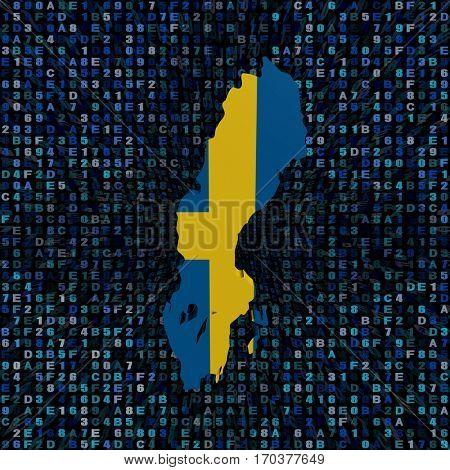 Sweden map flag on hex code 3d illustration