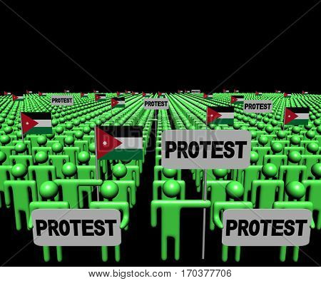 Crowd of people with protest signs and Jordan flags 3d illustration
