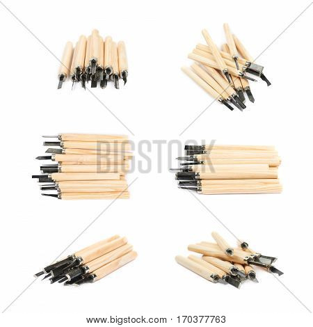 Pile of hand carving wood chisel tools, composition isolated over the white background, set of six different foreshortenings