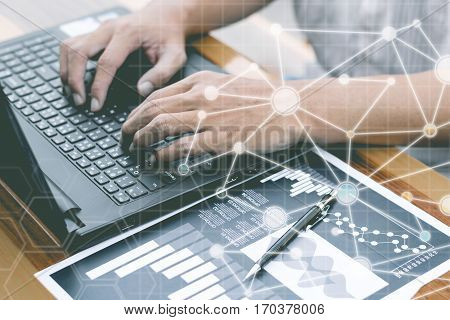Business Technology Concept,business People Hands Use Smart Phone And Laptop For Business Analyst Pr