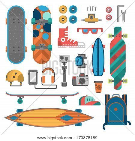 Skateboard fingerboard icon vector sport equipment. Fun modern print skating transportation decorative speed freestyle leisure. Skateboarding extreme.