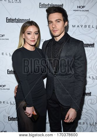 LOS ANGELES - JAN 28:  Hilary Duff and Jason Walsh {Object} arrives to the Entertainment Weekly Pre Sag Awards Celebration on January 28, 2017 in Hollywood, CA