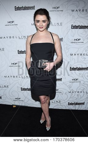 LOS ANGELES - JAN 28:  Maisie Williams {Object} arrives to the Entertainment Weekly Pre Sag Awards Celebration on January 28, 2017 in Hollywood, CA