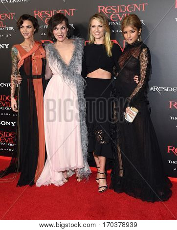 LOS ANGELES - JAN 23:  Ruby Rose, Milla Jovovich, Ali Larter and Rola arrives to the