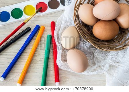 hen's eggs is prepared for painting with paints (gouache) and food markers for Easter