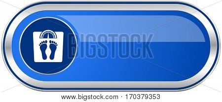 Weight long blue web and mobile apps banner isolated on white background.