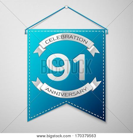 Blue pennant with inscription Ninety one Years Anniversary Celebration Design over a grey background. Silver ribbon. Colorful template elements for your birthday party. Vector illustration