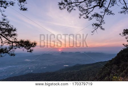 Beautiful Sky With Sunrise On Morning At Nok Aen Cliff, Phukradung National Park Thailand