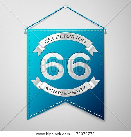 Blue pennant with inscription Sixty six Years Anniversary Celebration Design over a grey background. Silver ribbon. Colorful template elements for your birthday party. Vector illustration