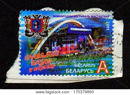 GOMEL, BELARUS, 1 FEBRUARY 2017, Stamp printed in Belarus shows image of The International Festival of Arts