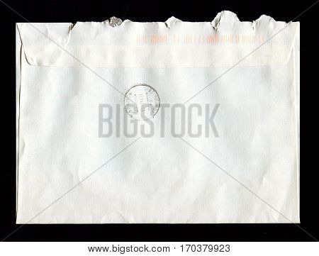GOMEL, BELARUS - JANUARY 26, 2017: Old envelope which was dispatched from Minsk, Belarus to Gomel, Belarus,January 26, 2017.