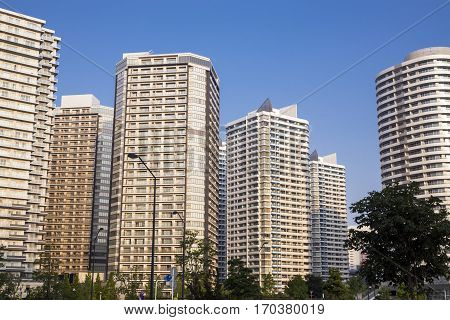 Dense of high rise buildings in Yokohama
