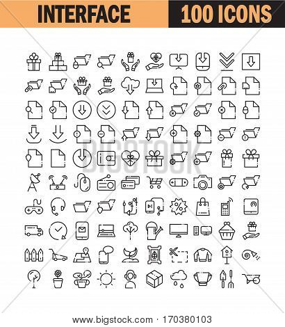Thin line icon set. Collection of high quality flat icon for web design or mobile app. Interface, file, document, folder, office vector illustration. Download,arrow, communication, gift icon set.
