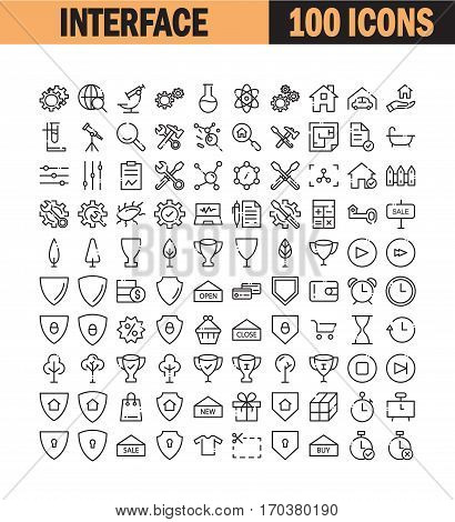 Thin line icon set. Collection of high quality flat icon for web design or mobile app. Interface, e-commerce, construction, science vector illustration. Award, trophy, setting, insurance icon set.