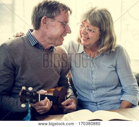 Ukelele Couple Enjoy Together Family