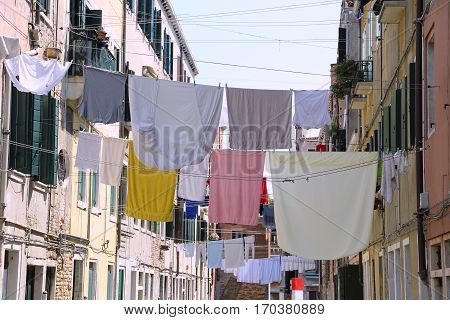 Venice Italy Clothes Hanging In The Street Called Calle In Itali