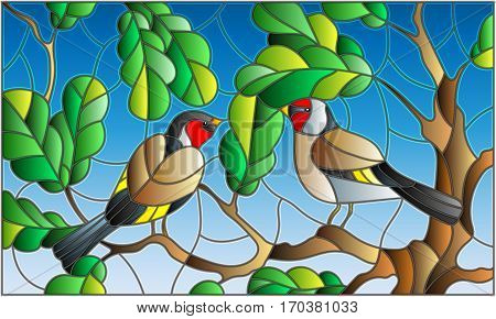 Illustration in stained glass style on the theme of summer two goldfinches in the sky and oak leaves