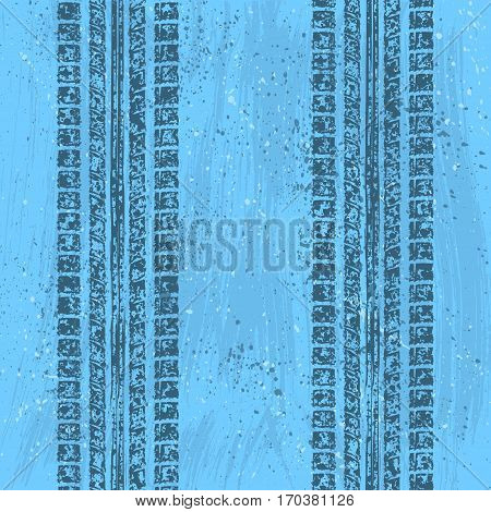 Blue grunge tire track background with snow