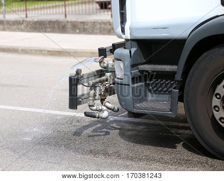 Tank Truck City Street Cleaning With Powerful Water Jet