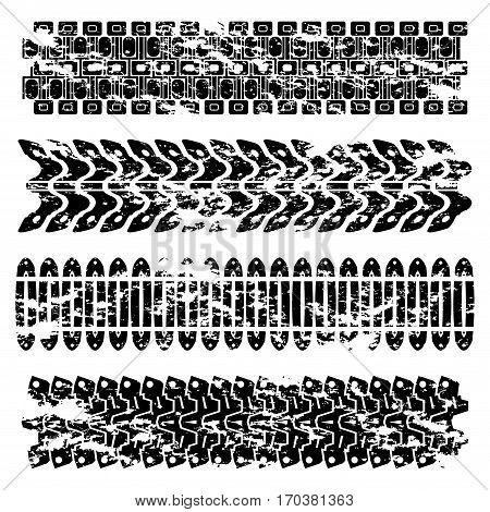 Set of three grunge black tank tracks isolated on white background