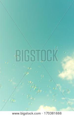 Soap Bubbles On Retro Background