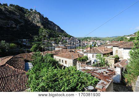 Berat, Albania - 24 June 2014: The old houses of Berat on Albania unesco world heritage
