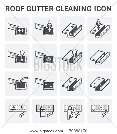 Roof gutter cleaning and maintenance vector icon.