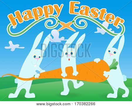 Postcard to the day of Easter the three funny cartoon Easter Bunny carrying carrot on lawn and blue sky background and the words
