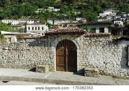 Berat, Albania - 24 June 2014: House at the citadel of Kala at Berat on Albania, Unesco world heritage