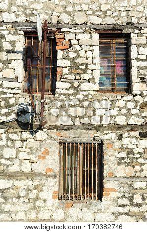 Windows or a house at the citadel of Kala at Berat on Albania
