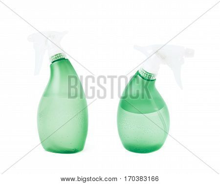 Green plastic pulverizer spray isolated over the white background, set of two different foreshortenings