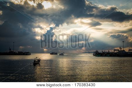 Scenery at seaport with cloudy sky in Koh Samui Thailand