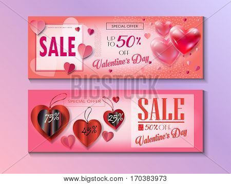 Sale discount banner for Valentines Day set. Vector template. Special offer poster with heart balloons, price tags, festive background. Love, poster, banner, coupon, voucher, price tag. Set of Typography Gift card Advertising design