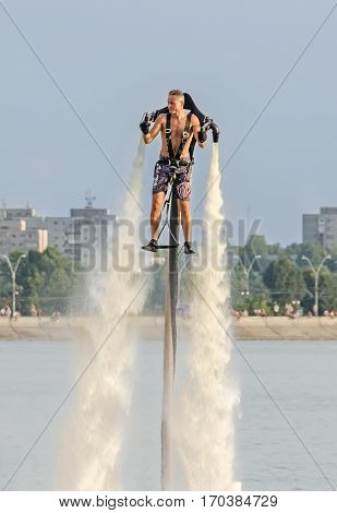 Bucharest, Romania - September 5, 2015. Acrobatic Jetsky Pilot Training On The Lake. Aeronautic Show