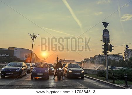 Bucharest, Romania - September 15, 2016: Sunrise In Bucharest City, The Shore Of Dambovita River, Do