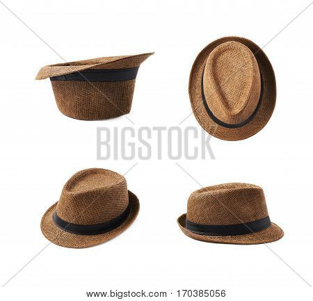 Brown fedora hat isolated over the white background, set of four different foreshortenings