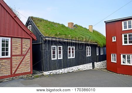 Traditional houses with grass roof on the Faroe Islands