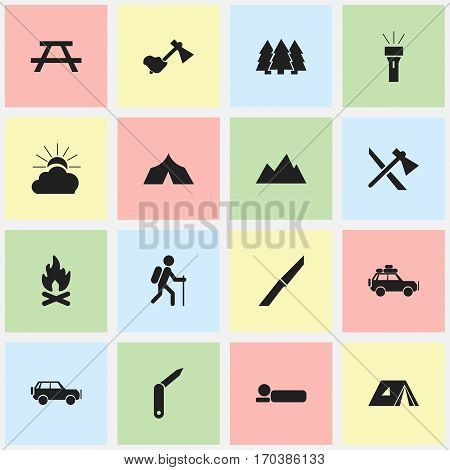 Set Of 16 Editable Travel Icons. Includes Symbols Such As Lantern, Clasp-Knife, Bedroll And More. Can Be Used For Web, Mobile, UI And Infographic Design.