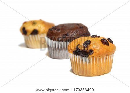 Raisin muffin chocolate muffin and mix fruit muffin on white background. food bakerydessert.
