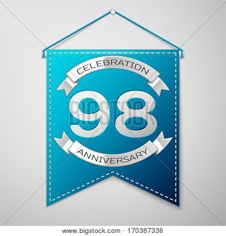 Blue pennant with inscription Ninety eight Years Anniversary Celebration Design over a grey background. Silver ribbon. Colorful template elements for your birthday party. Vector illustration