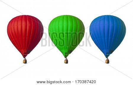 hot air balloons set isolated on white background