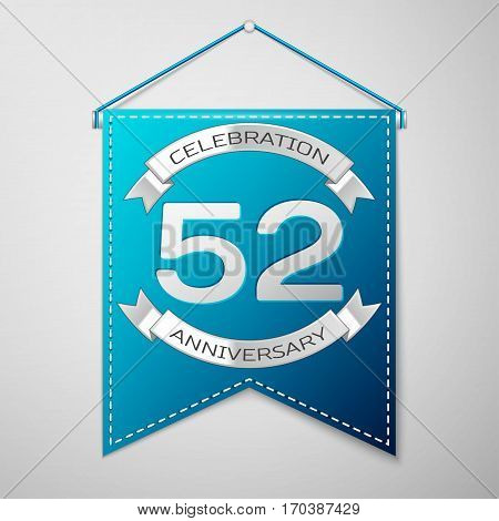 Blue pennant with inscription Fifty two Years Anniversary Celebration Design over a grey background. Silver ribbon. Colorful template elements for your birthday party. Vector illustration