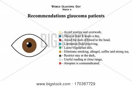 Glaucoma. Recommendations glaucoma patients Infographics. Vector illustration on isolated background.