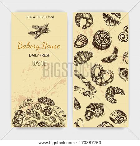 Vector Illustration Sketch. Bread, Loaf, Baguette, Croissant, Buns, Puffs. Card Bakery House With Fr