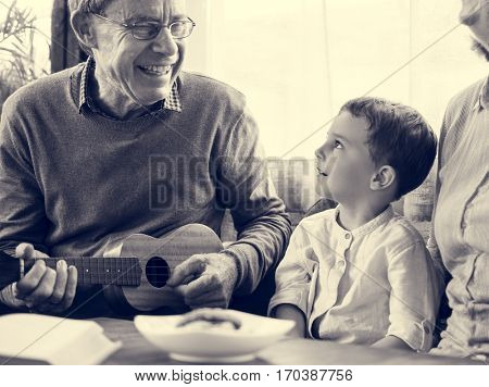 Ukelele Child Grandparent Together Family